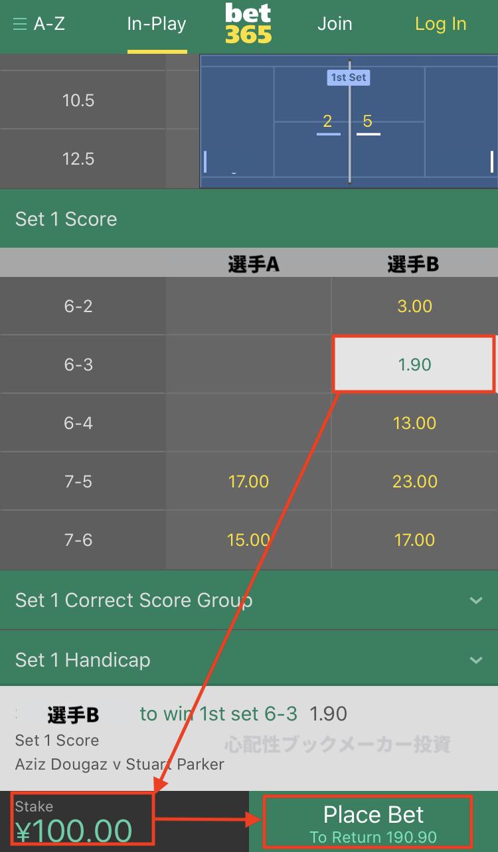 bet365のテニスオッズSetScore