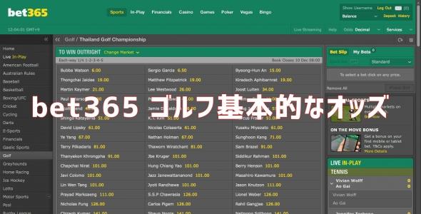 bet365 ゴルフ オッズ 賭け方