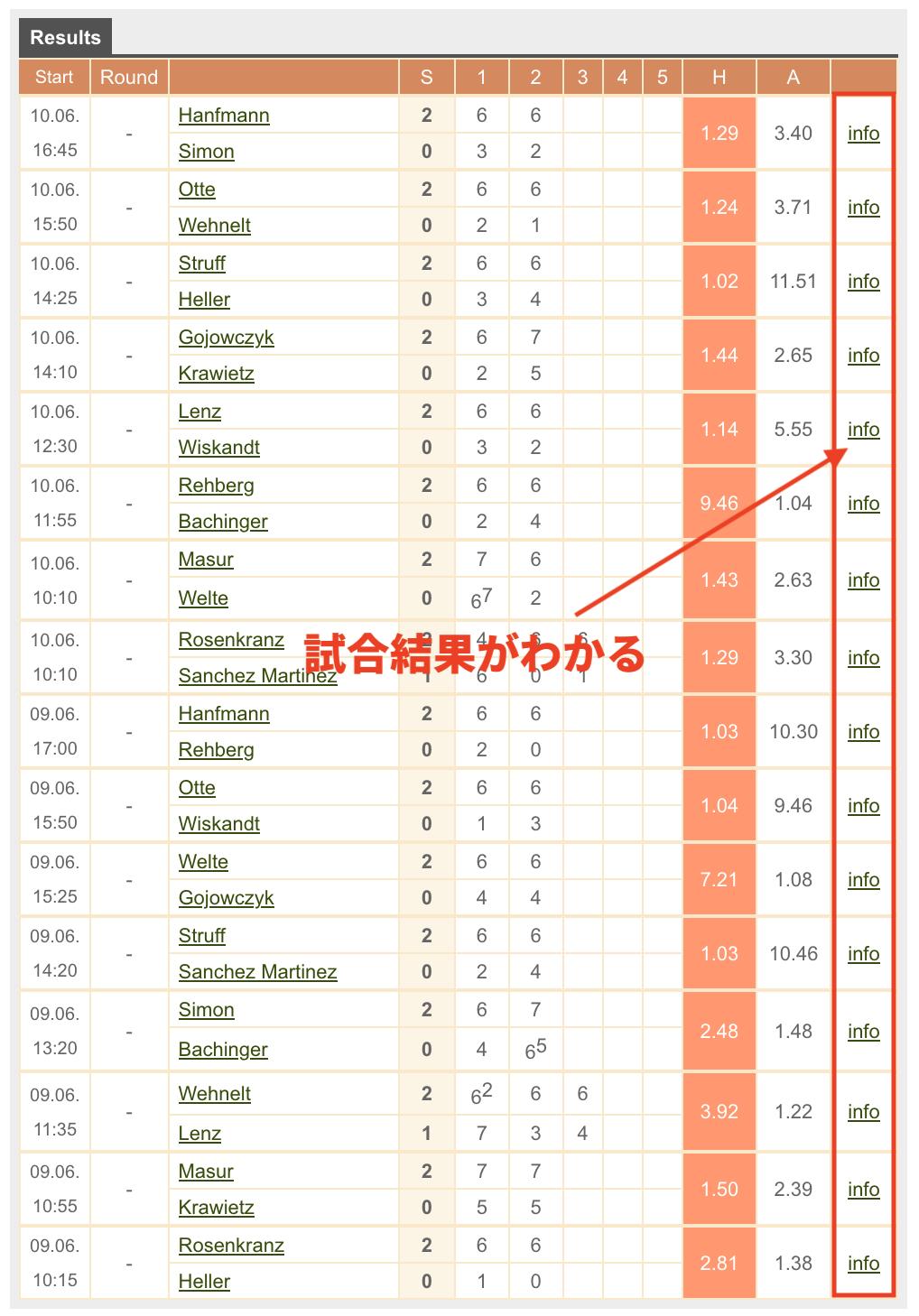 ブックメーカーテニスのデータ