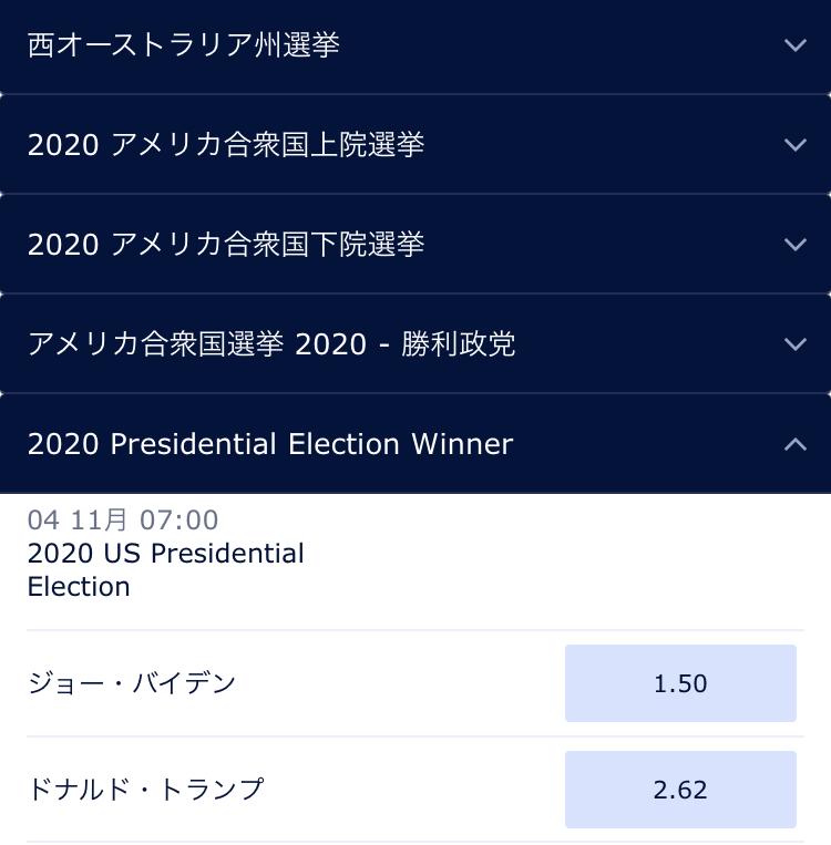 アメリカ大統領選挙ブックメーカーオッズ